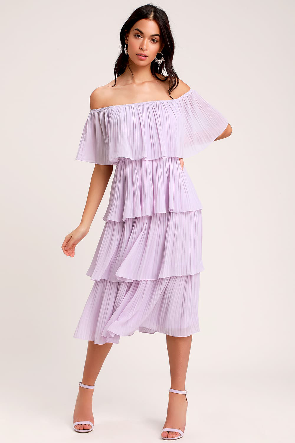 Lavender Ruffle Midi Dress