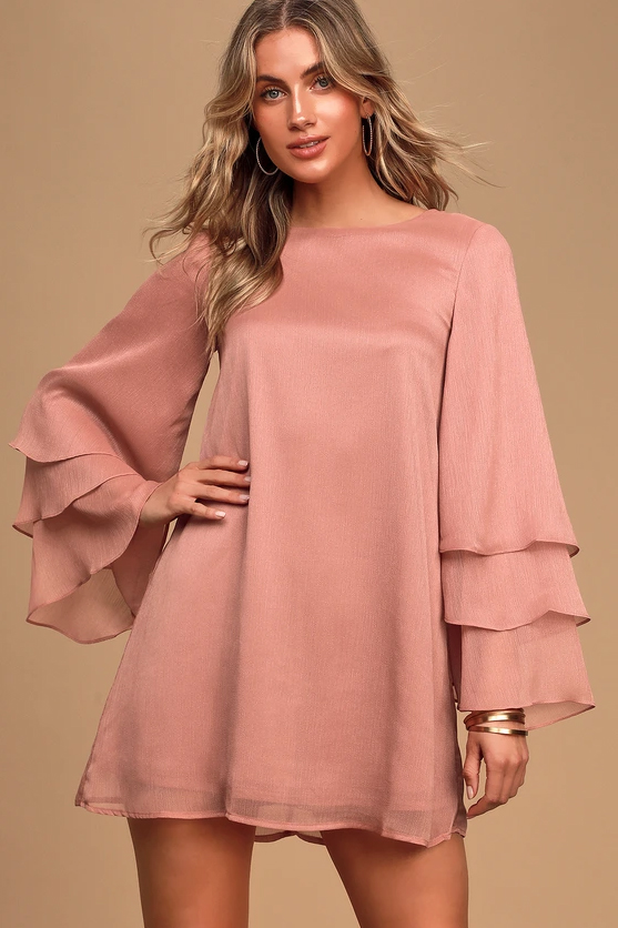 Own It Dusty Pink Tiered Long Sleeve Shift Dress