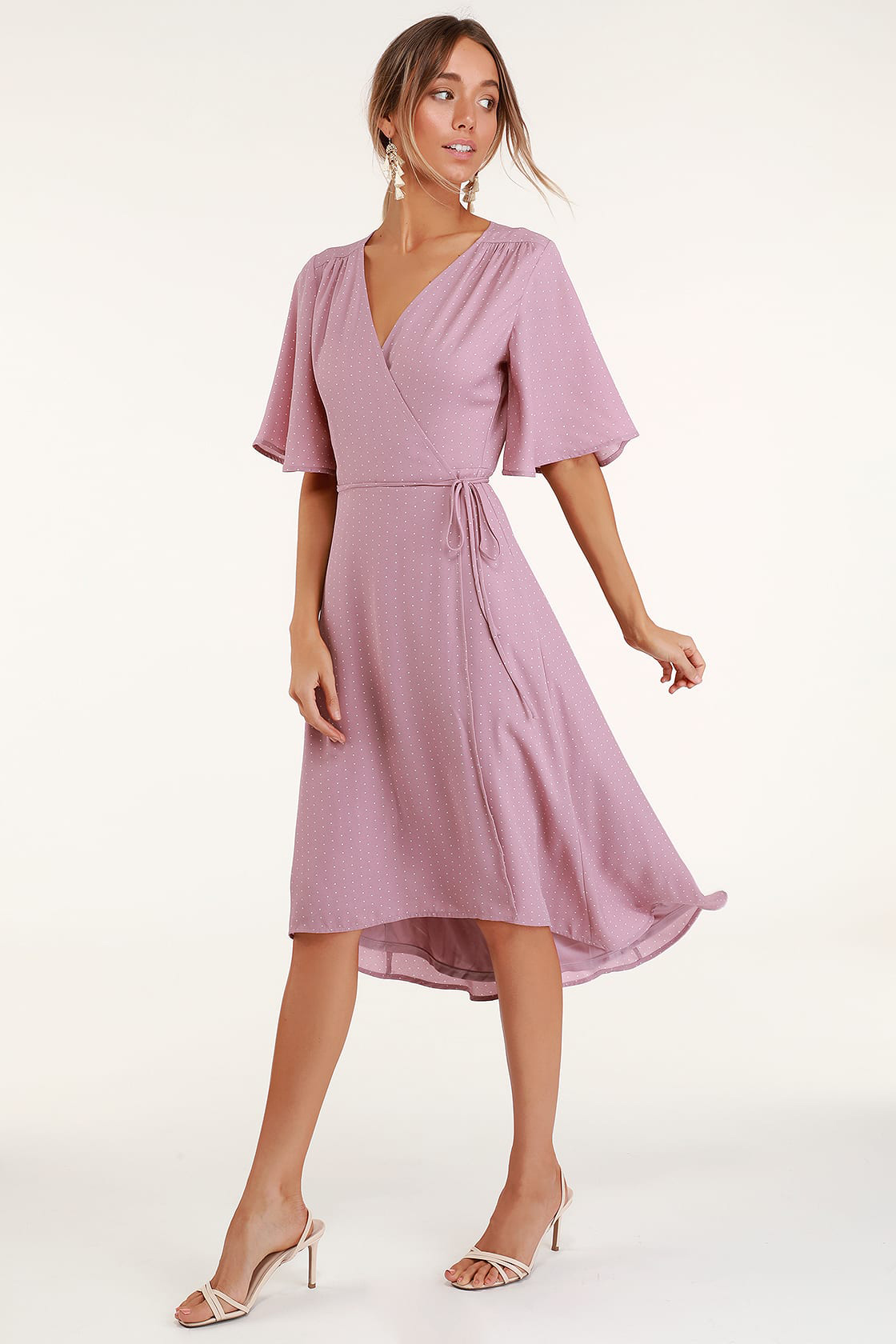 Farah Mauve Print Midi Wrap Dress