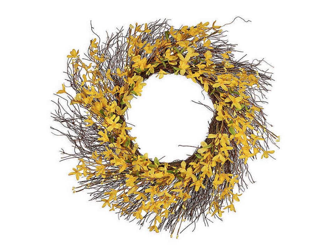 Forsythia Flowers 24-Inch Wreath in Yellow