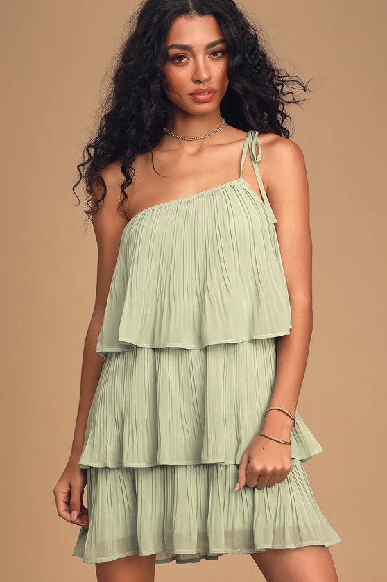 Blowing Kisses Sage Green Pleated One-Shoulder Mini Dress