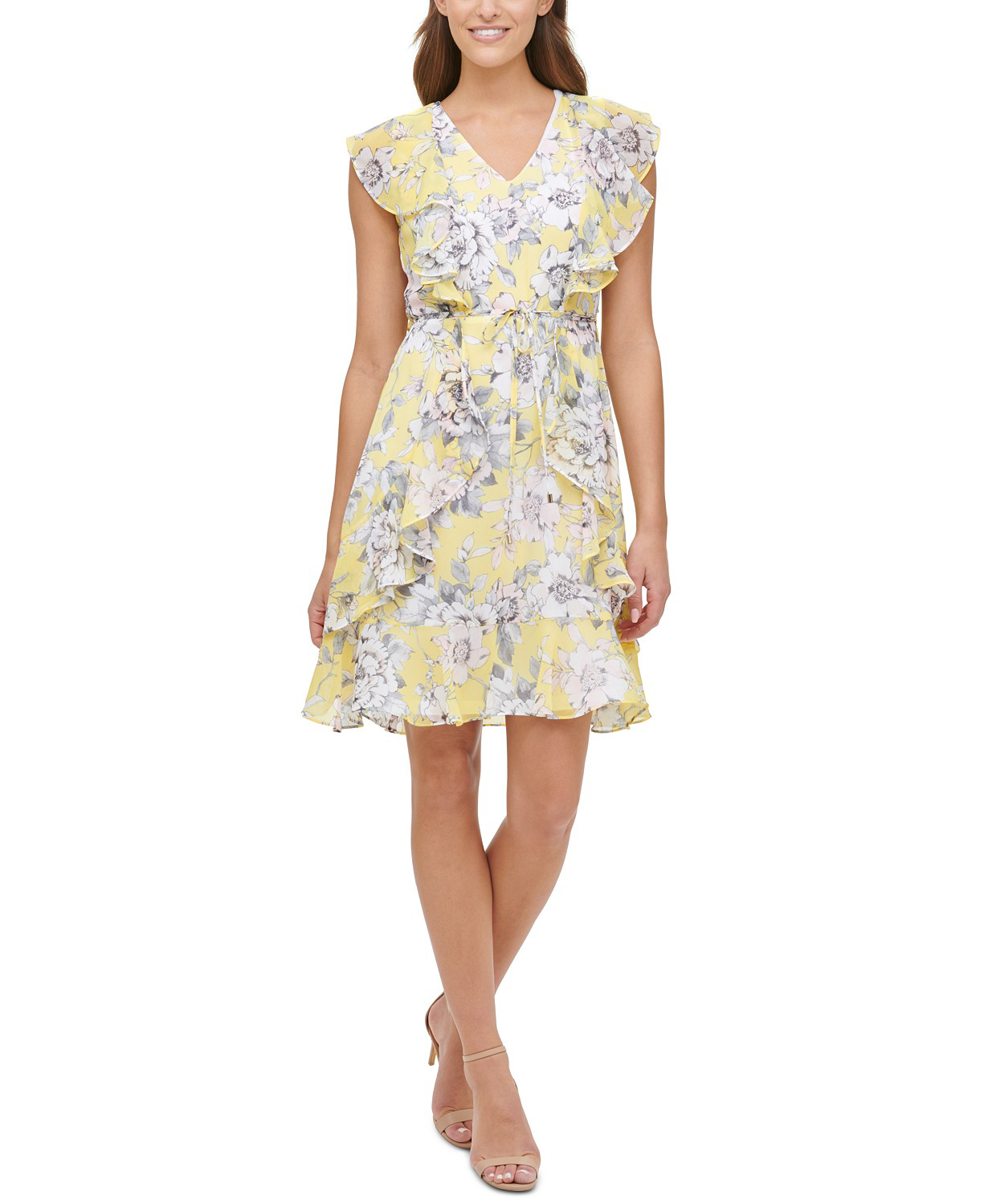 Victoria Floral Chiffon Fit & Flare Dress