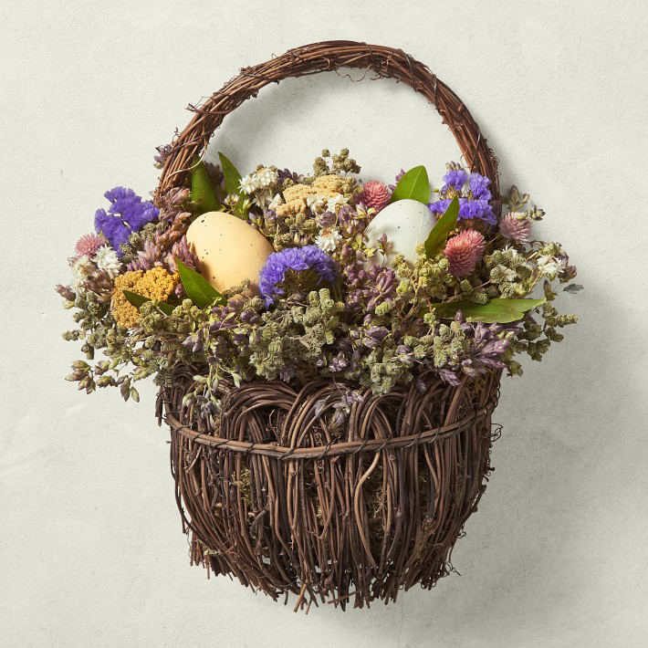 Easter Basket Door Wreath with Eggs