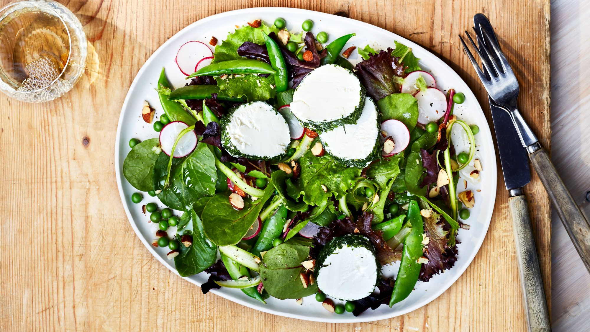 Spring Mix Salad with Herbed Goat Cheese