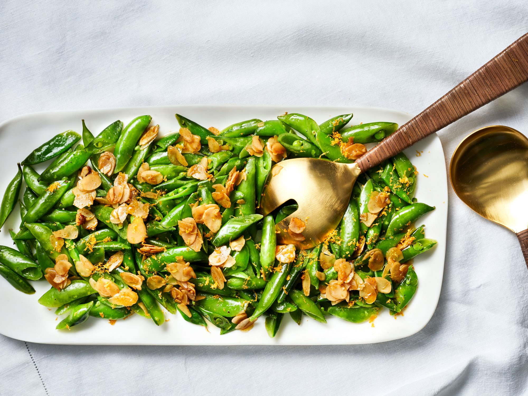 Sautéed Sugar Snap Peas with Orange Zest and Buttery Almonds