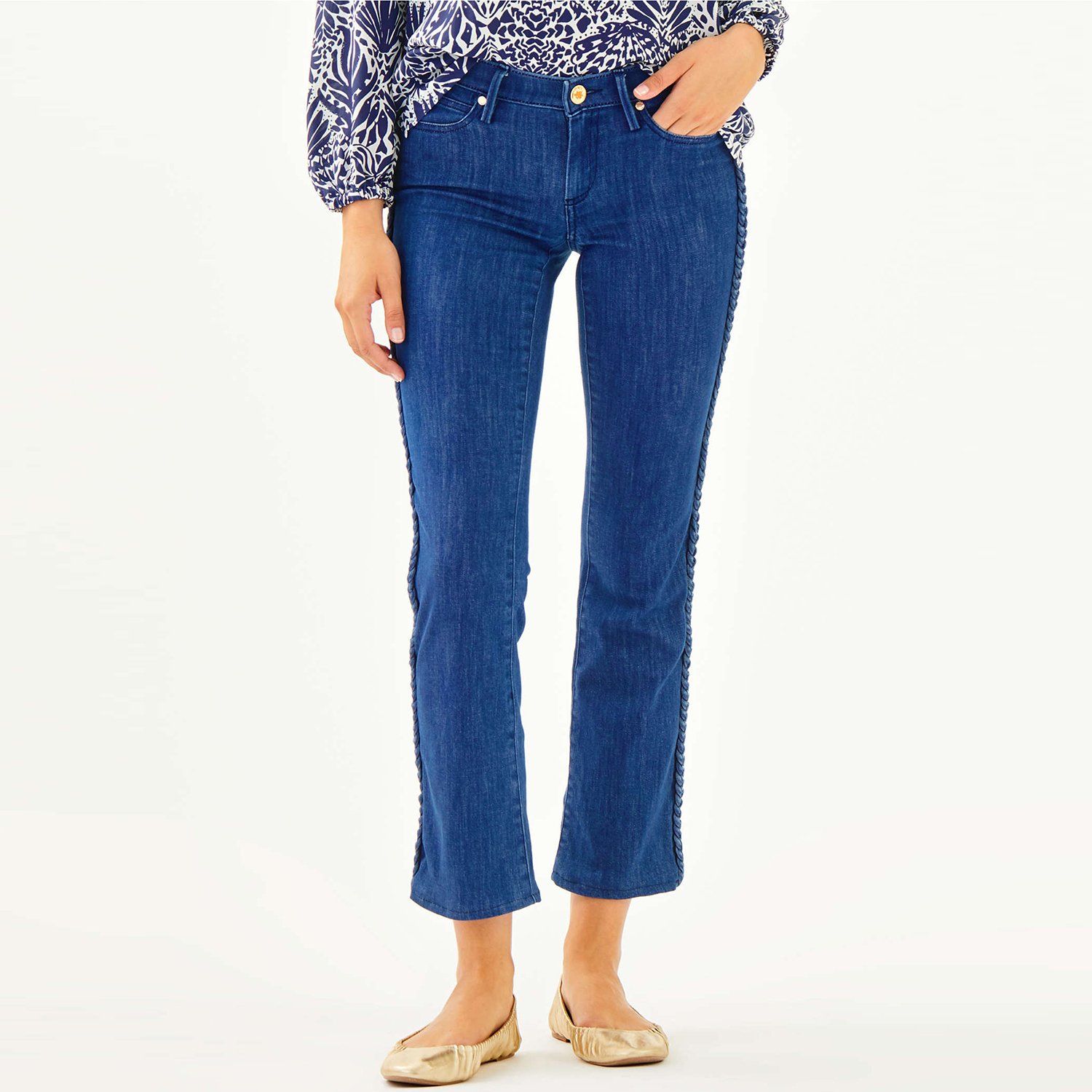 "28.5"" South Ocean Crop Flare Pant in Bay Ave Wash"