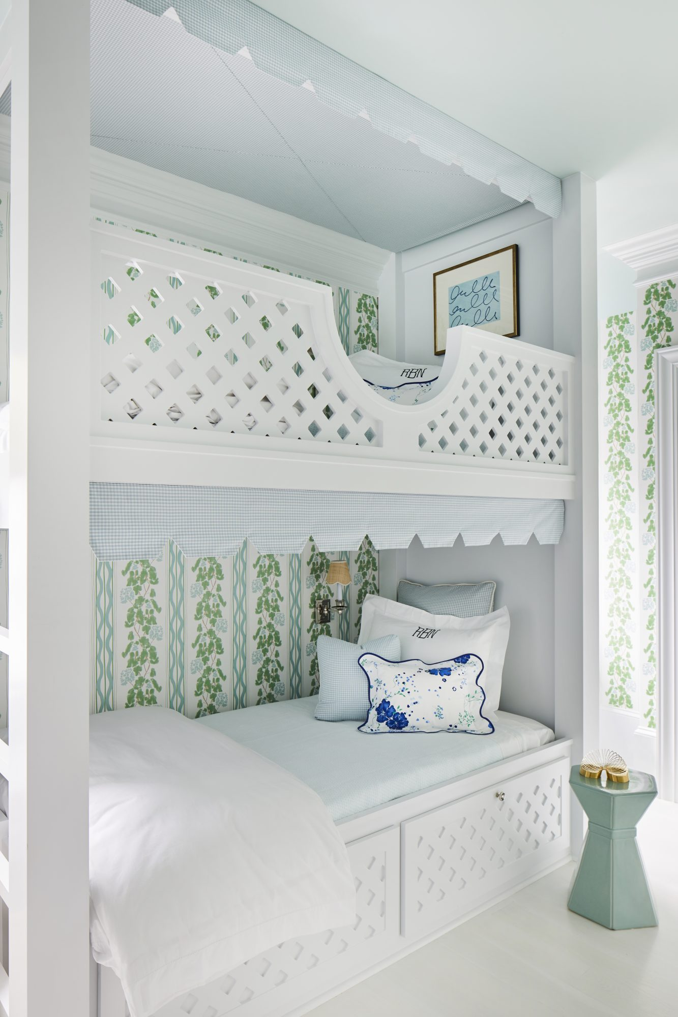 White Bunk Room with Green and Blue Accents