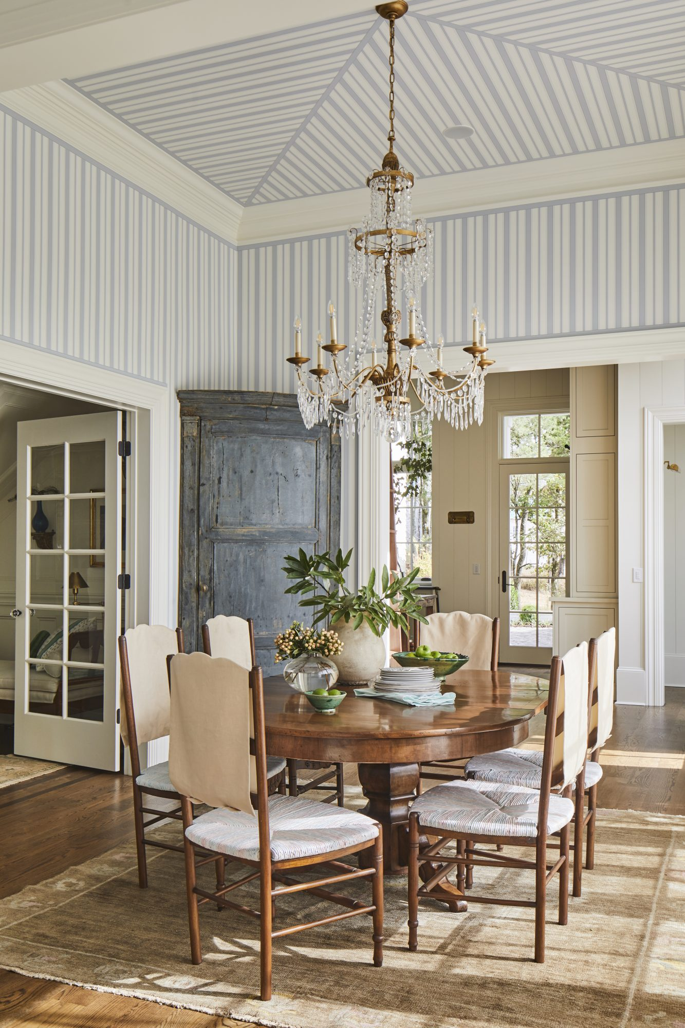 Casual Dining Room with Blue and White Striped Walls