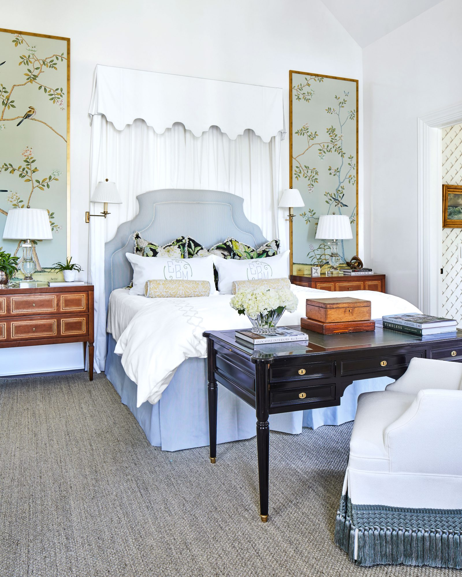 Master Bedroom with Pale Blue and White Linens
