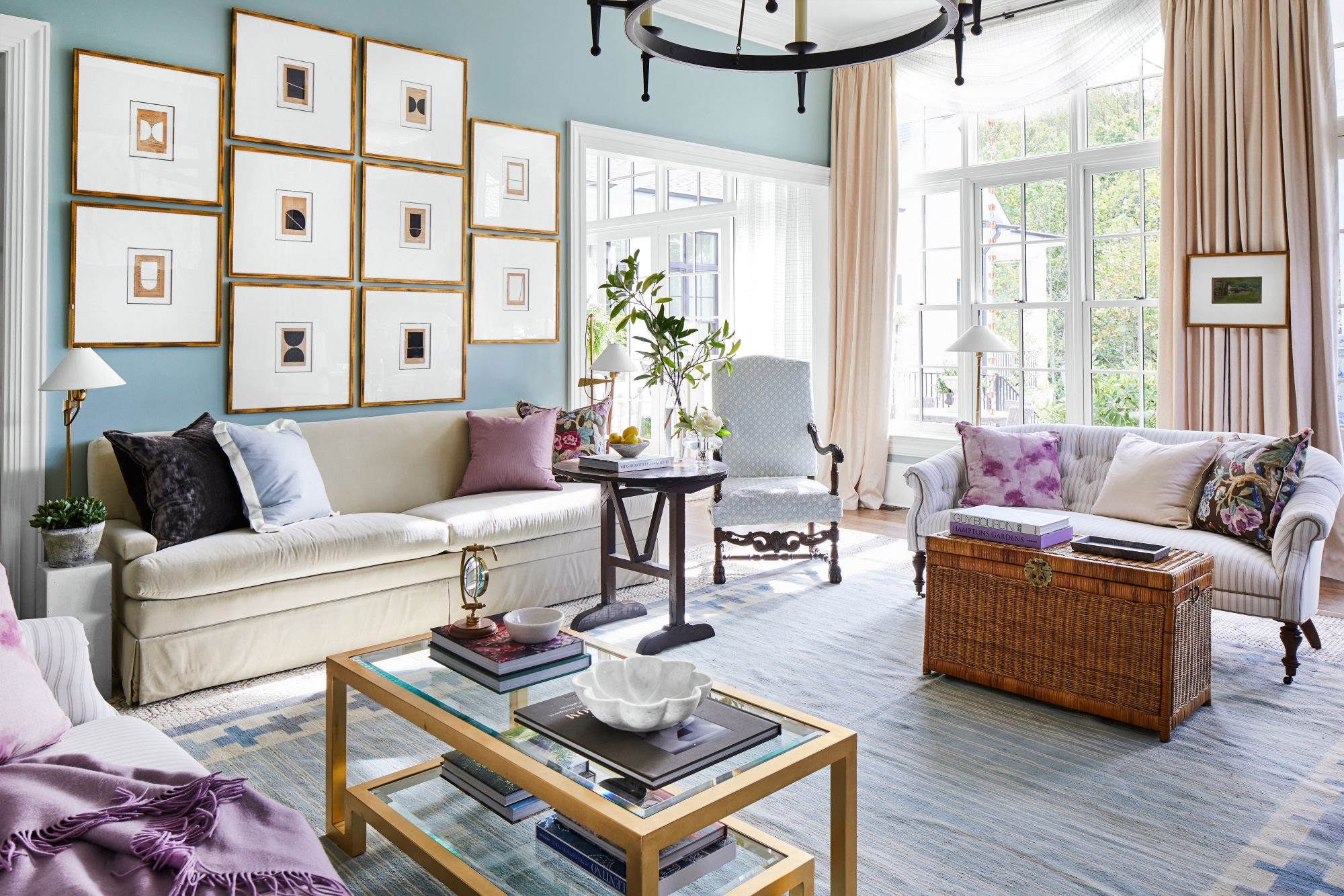 Light Blue Living Room with Pops of Purple