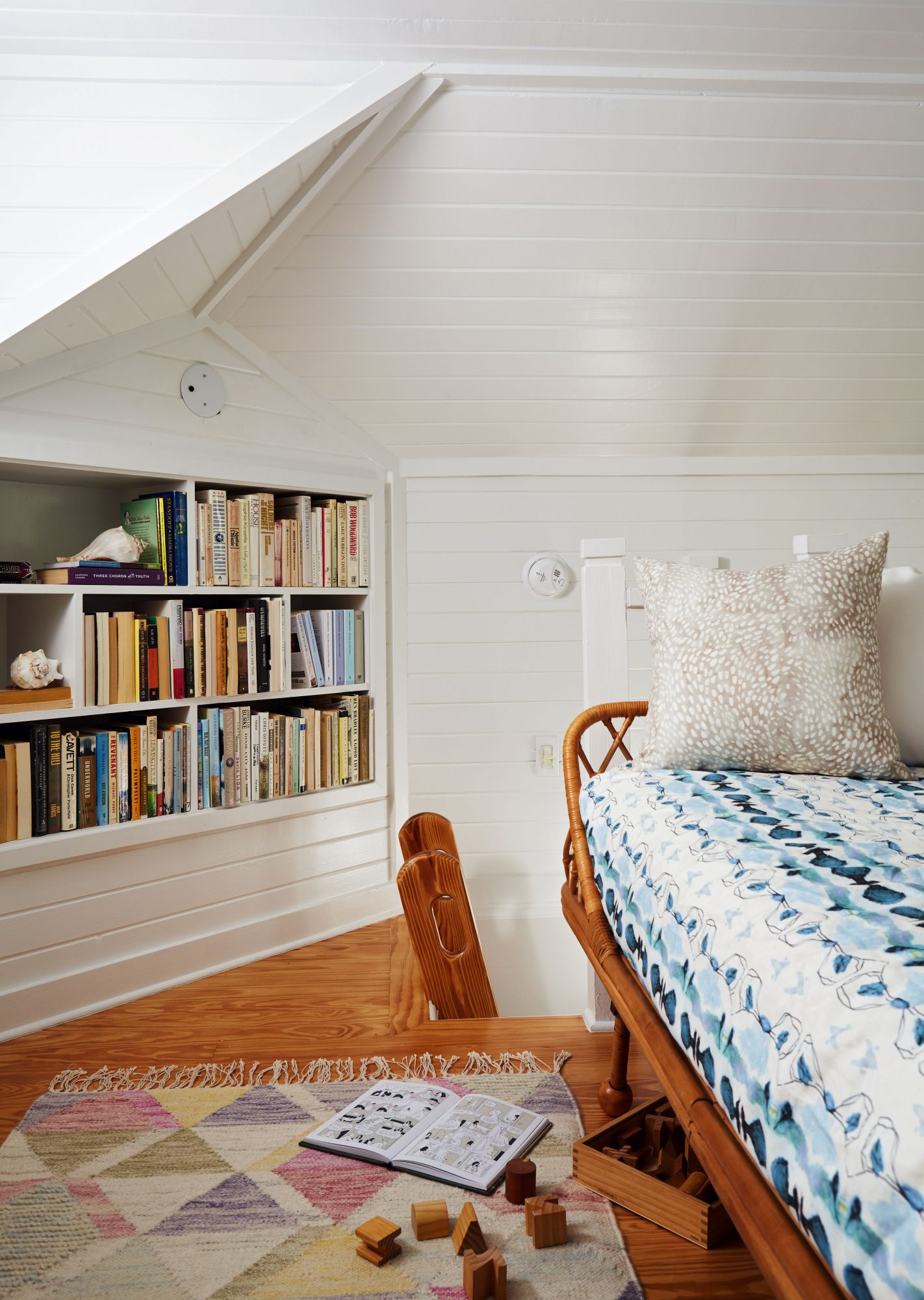 600 Square Foot Beach Cottage Reading Loft with Day Bed and Bookshelves