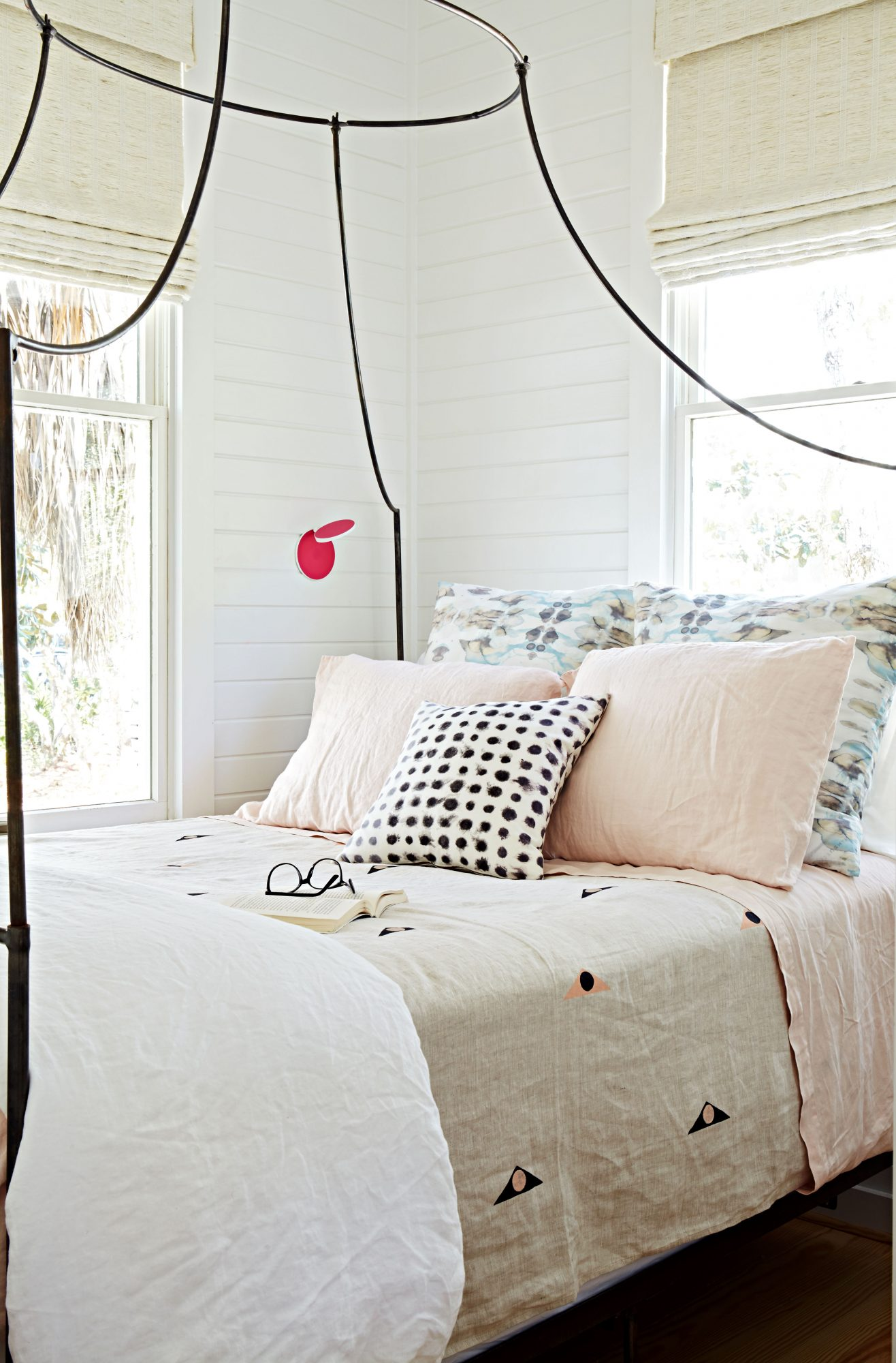 600 Square Foot Beach Cottage Master Bedroom with Canopy Bed