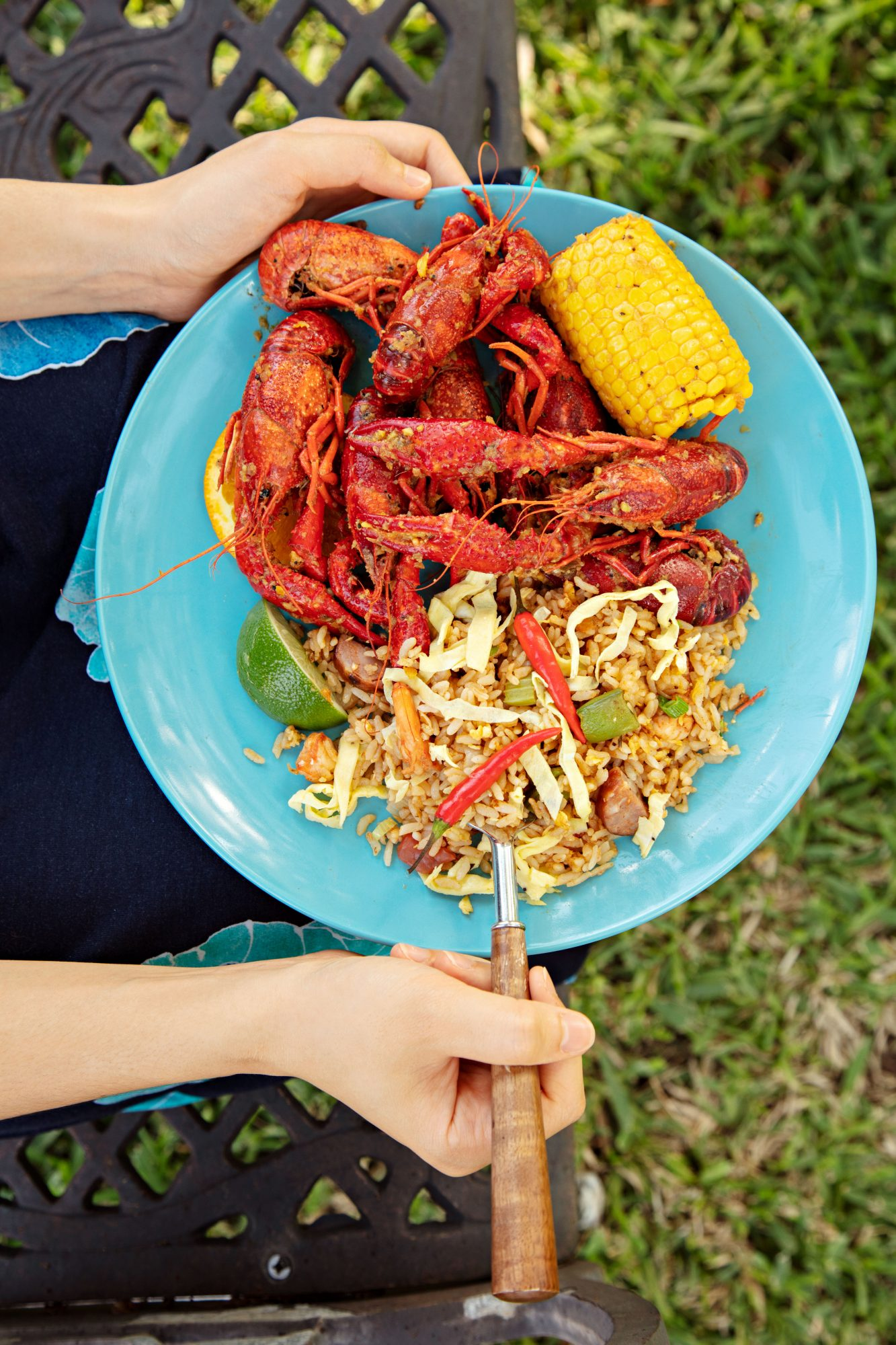 Plated Vietnamese-Cajun Crawfish Boil and Fried Rice