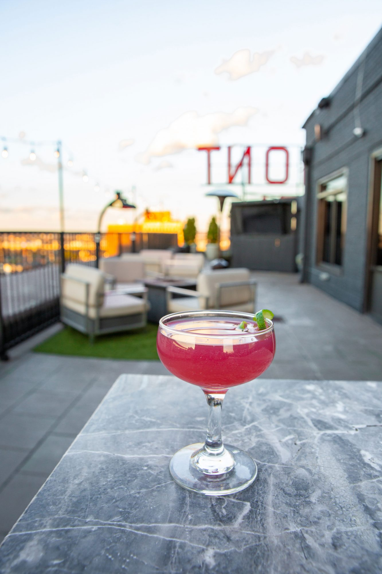 Cocktails at the Rooftop at The Redmont Hotel in Birmingham AL