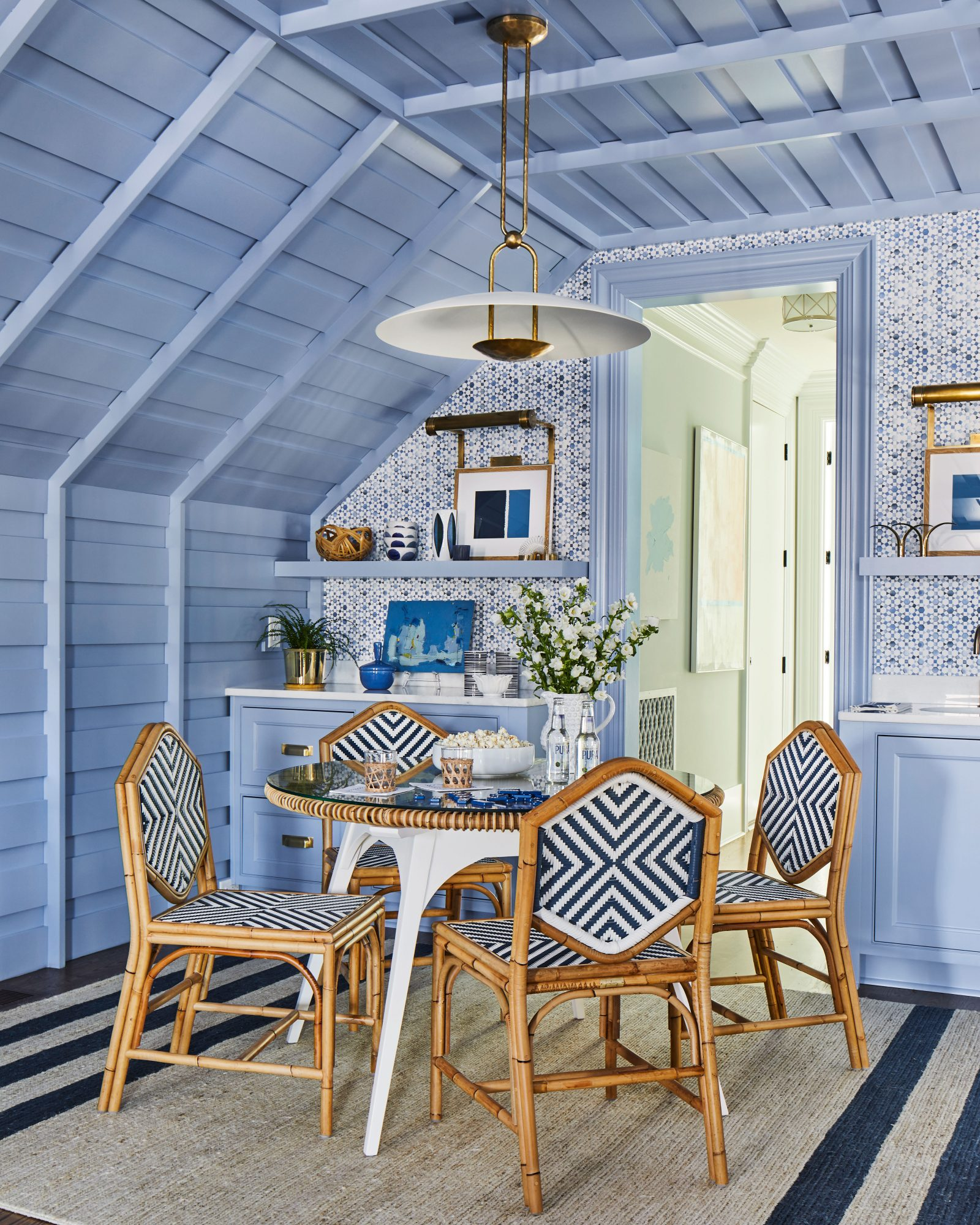 Blue Room with Card Table and Wet Bar