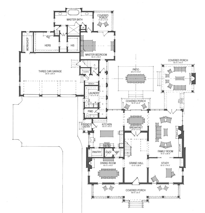First Floor Plan for Oakland Hall House Plan