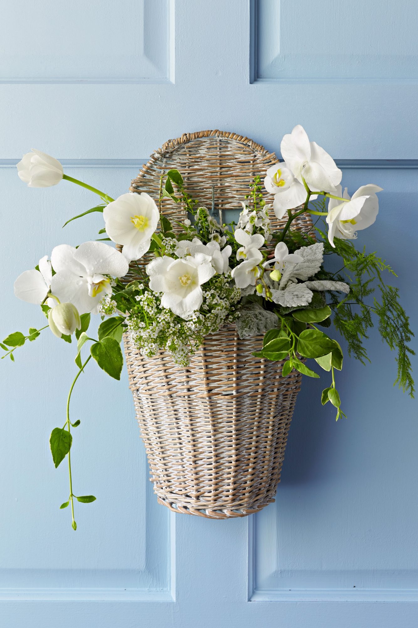 Front Door Basket Container with White and Green Flowers