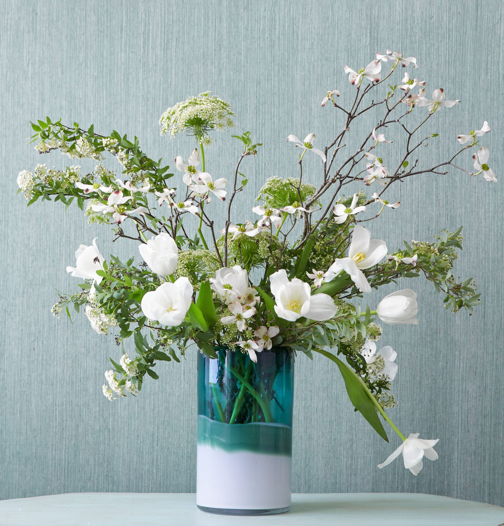 White Dogwood and Queen Anne's Lace Flower Arrangements