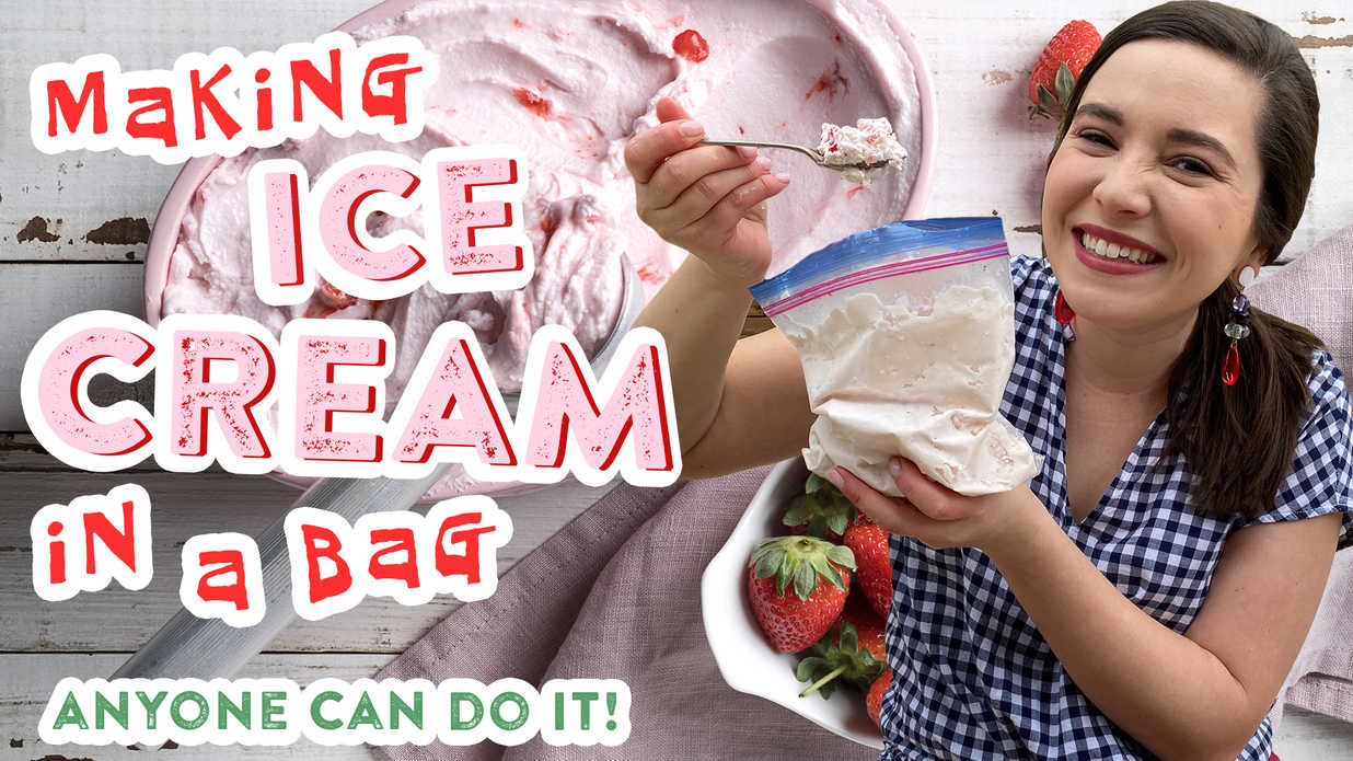 Strawberry Ice Cream in a Bag