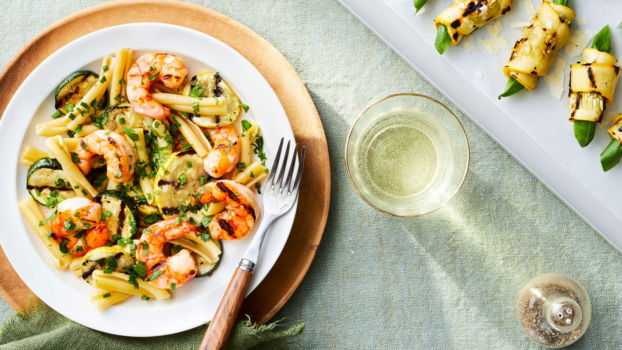 Grilled Shrimp-and-Squash Pasta with Summer Herbs