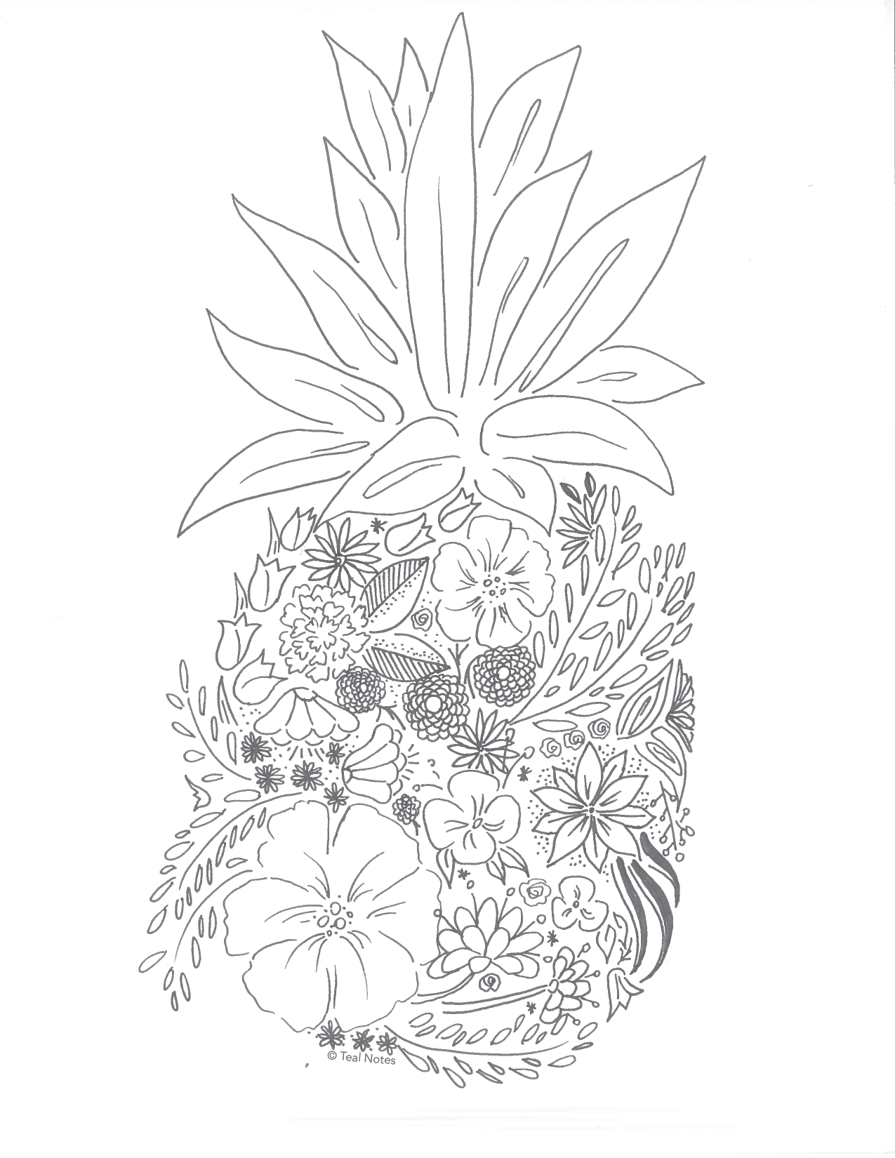 Pineapple Coloring Page by Teal Notes