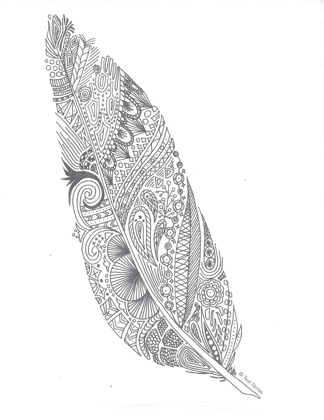 Feather Coloring Page by Teal Notes