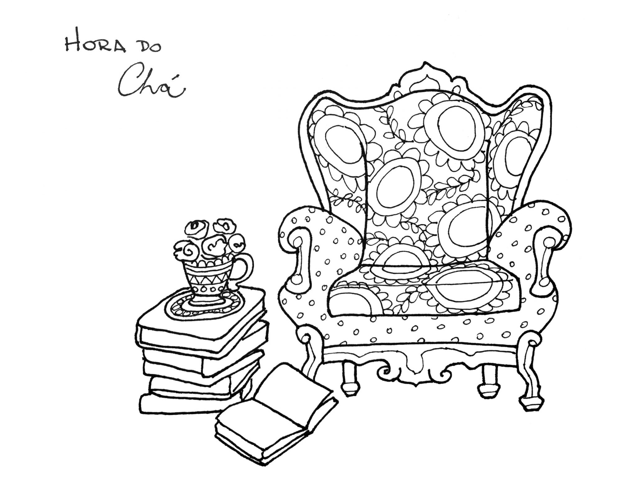 Chair and Books Coloring Page by Fer Caggiano