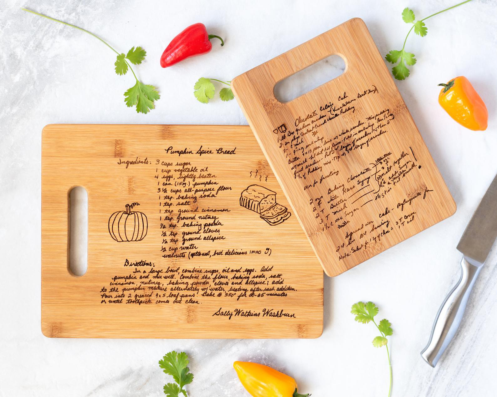 Custom Engraved Family Recipe Cutting Board
