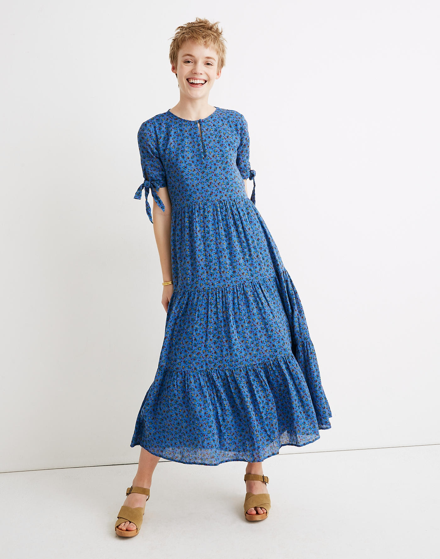 Tie Sleeve Tiered Swiss Dot Dress