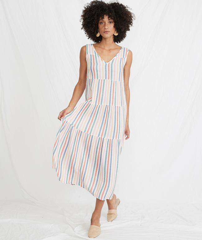 Corinne Stripped Maxi Dress