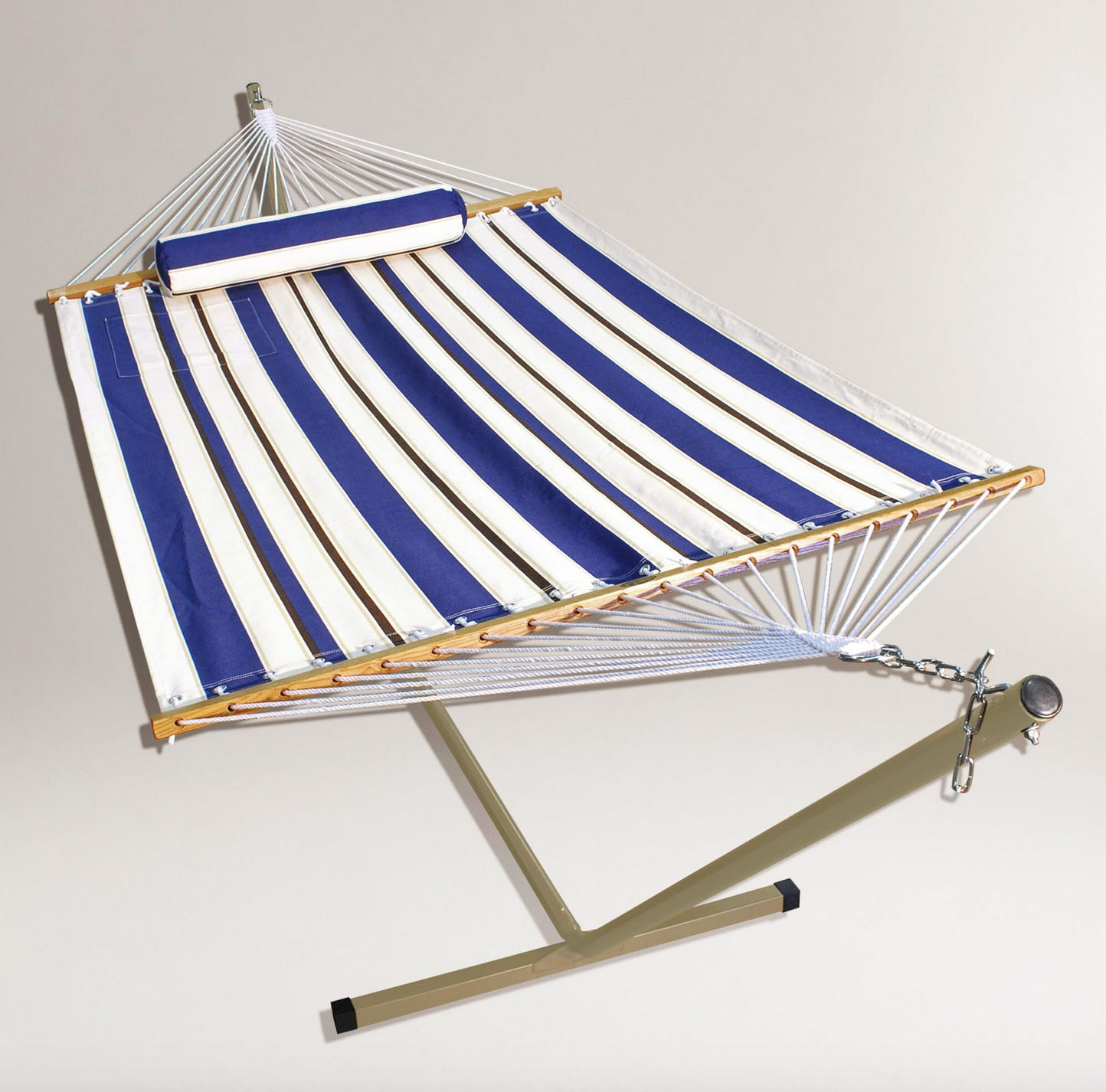 Blue Stripe Single Hammock with Stand