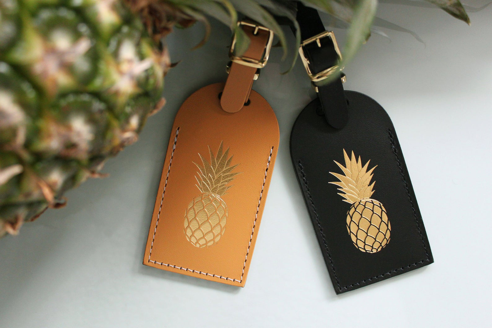 Leather Pineapple Luggage Tags
