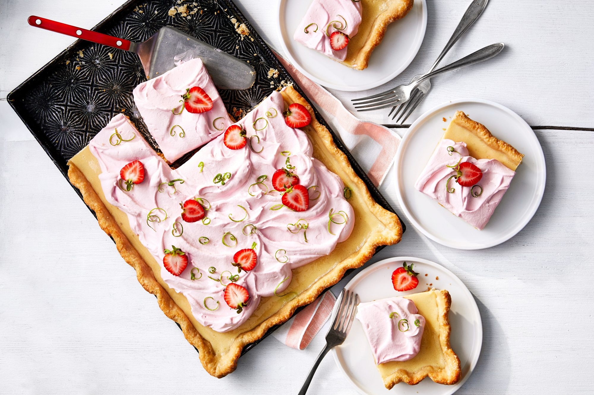 Key Lime Slab Pie with Strawberry Whipped Cream