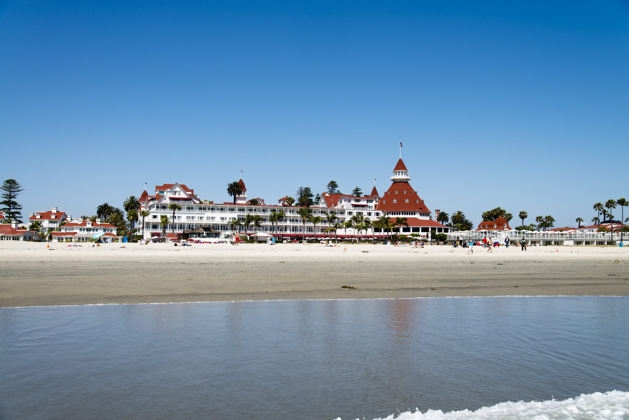 Coronado, USA - May 19, 2015: People at the beach on the Coronado Island near San Diego in California, USA, during a hot summer day. In the background the Hotel Del Coronado.