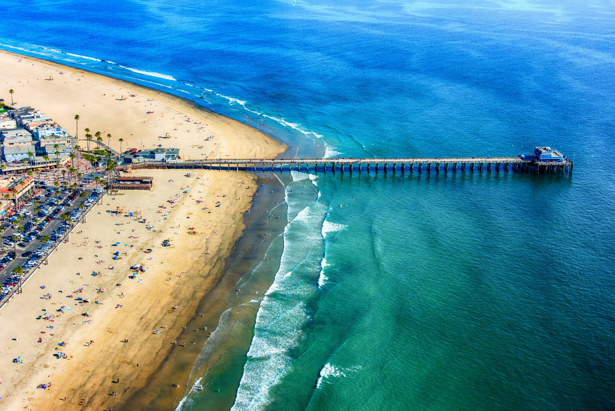 The pier at Newport Beach in Orange County, California shot from an altitude of about 1500 feet.