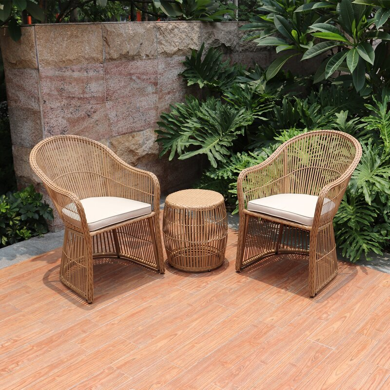 3 Piece Rattan Seating Group with Cushions