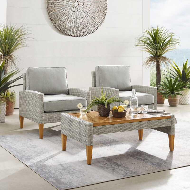 Meacham Outdoor 3 Piece Seating Group with Cushions