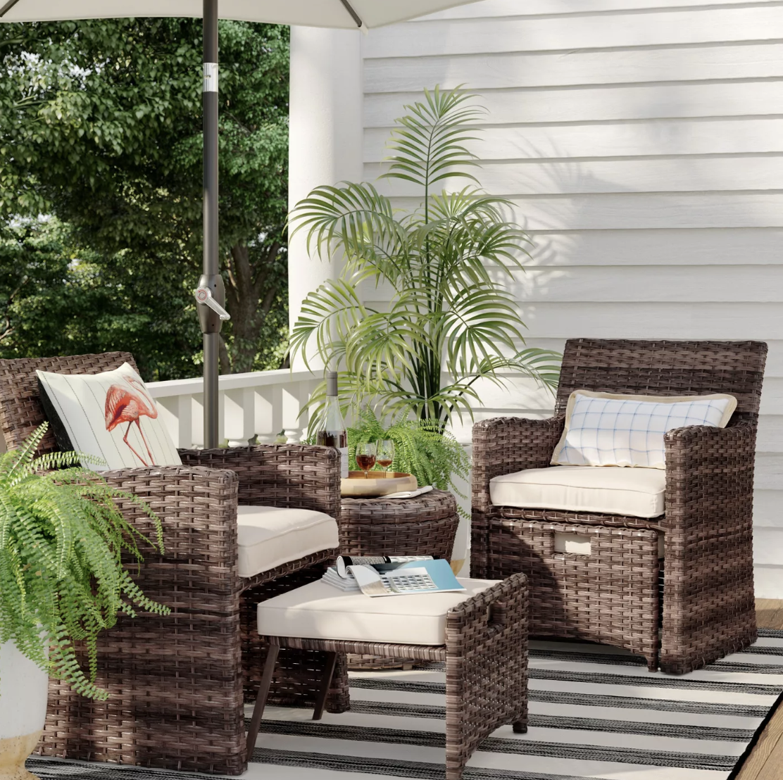 Halsted 5pc Wicker Small Space Patio Furniture Set