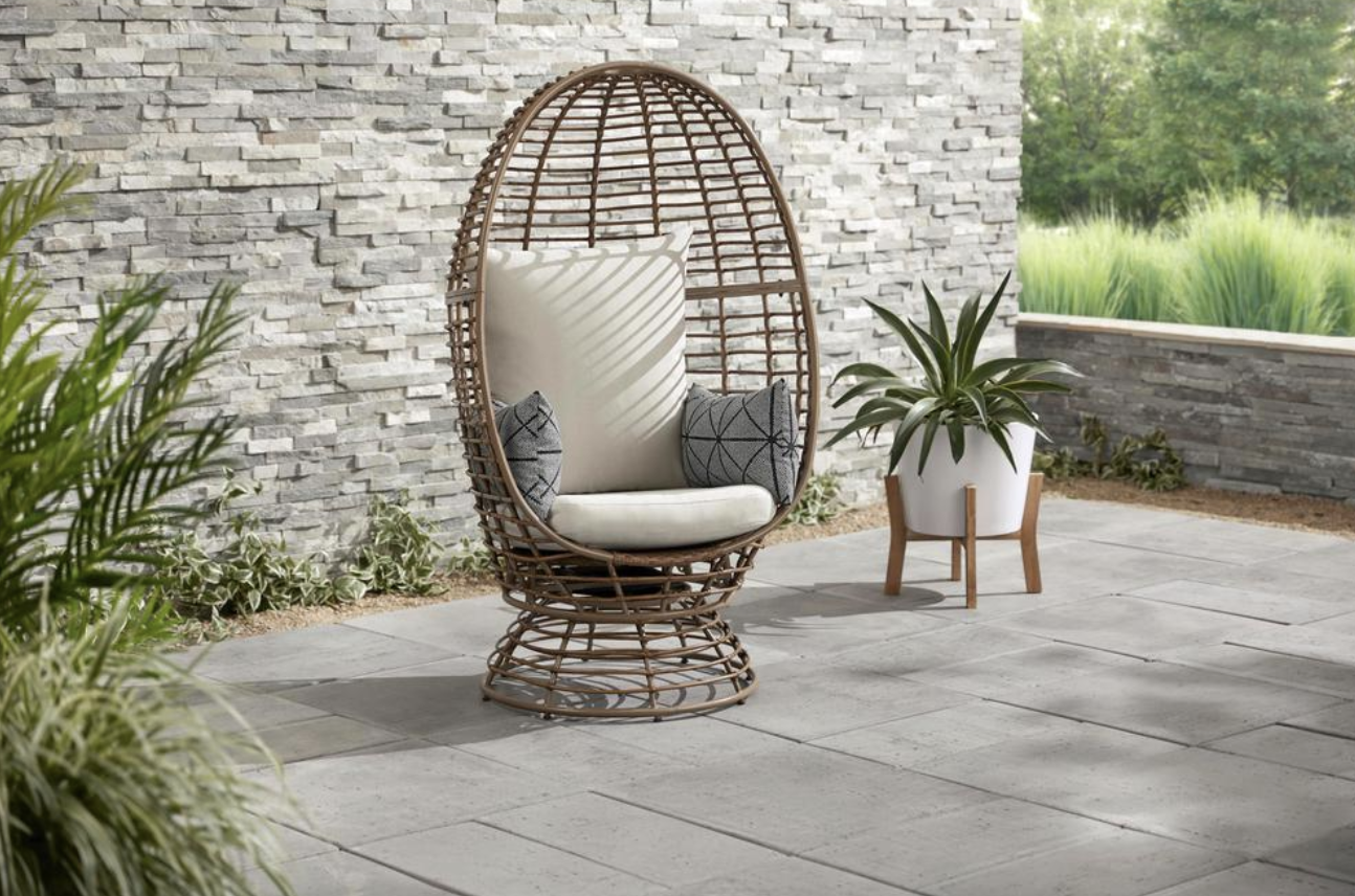 Wicker Outdoor Patio Egg Lounge Chair with Beige Cushions