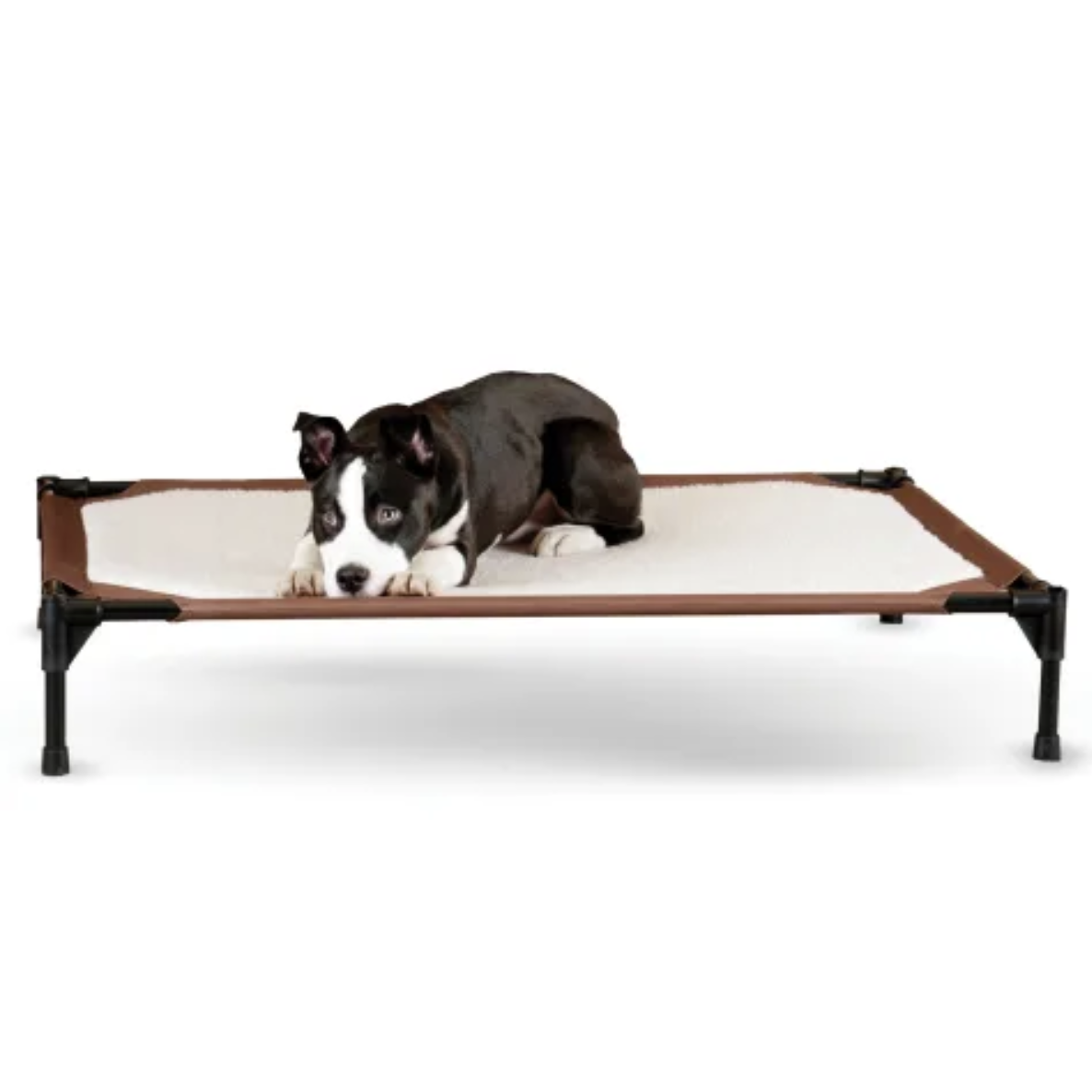 Brown and White Self-Warming Pet Cot