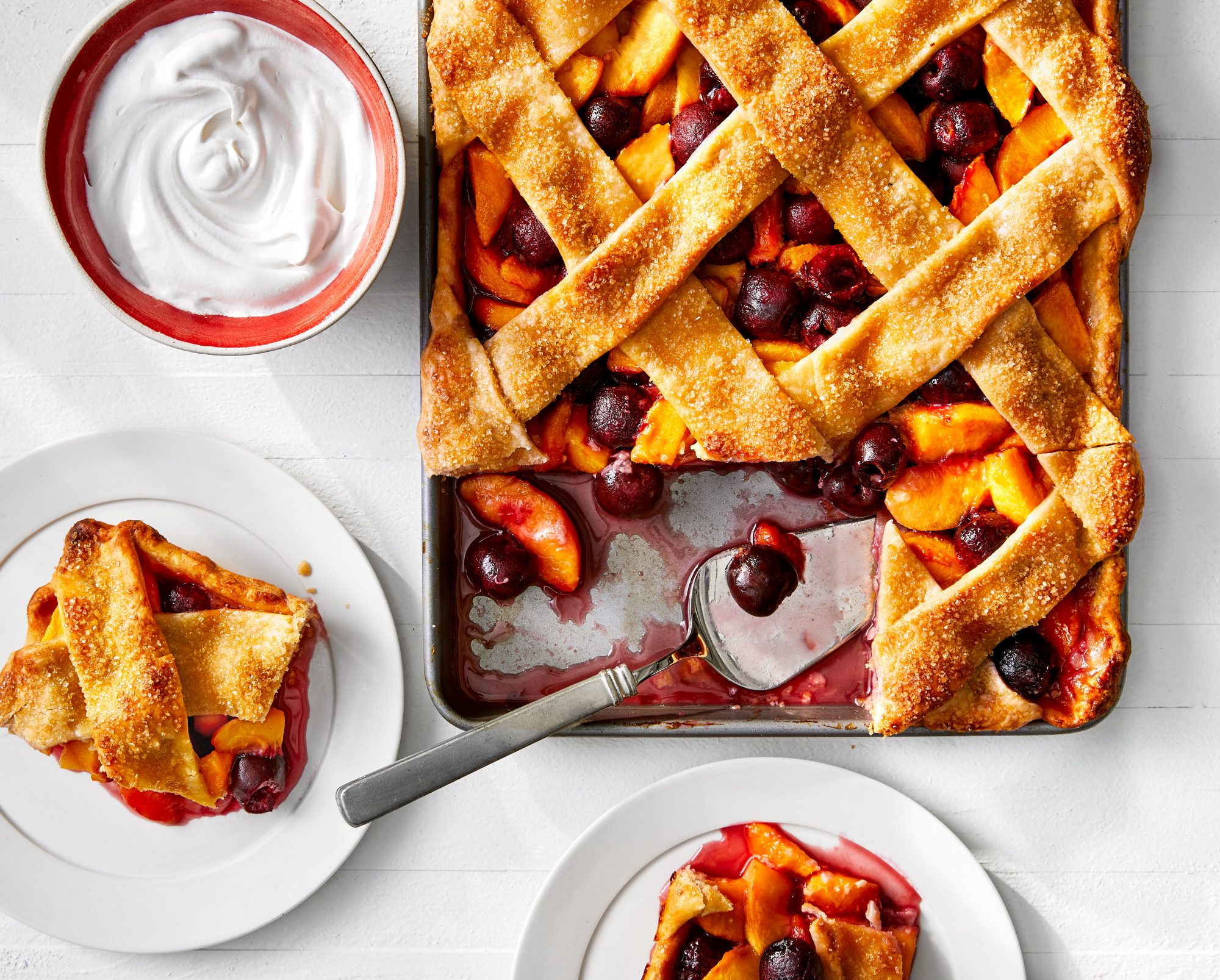 Stone Fruit Lattice-Topped Slab Pie