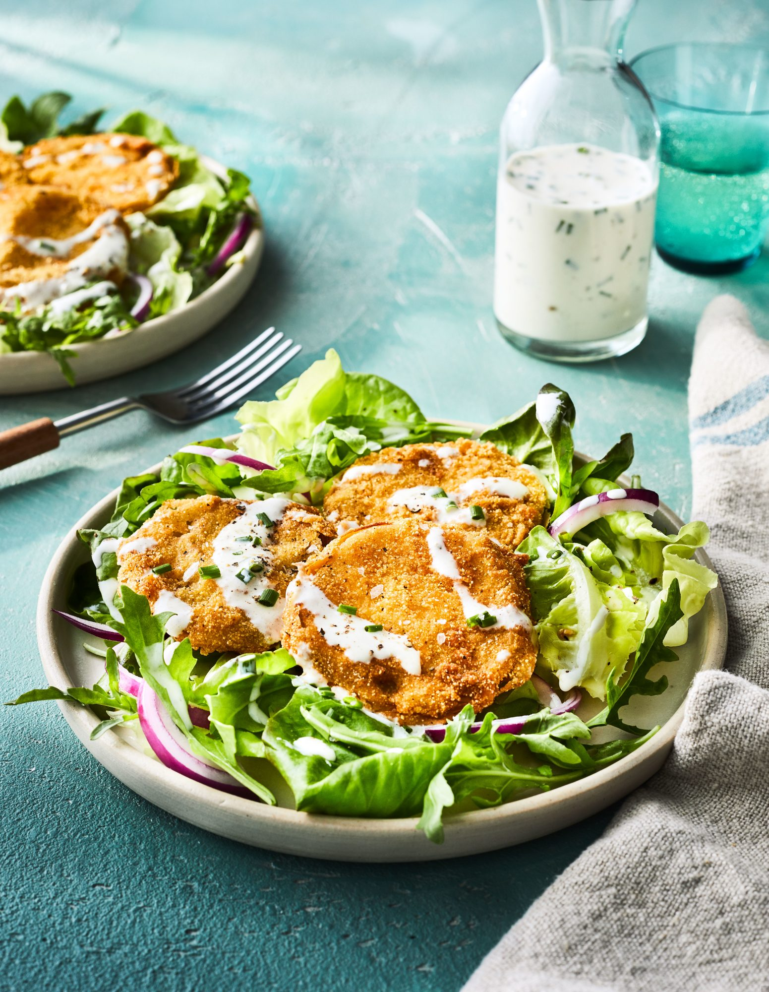 Fried Green Tomato Salad with Buttermilk Dressing