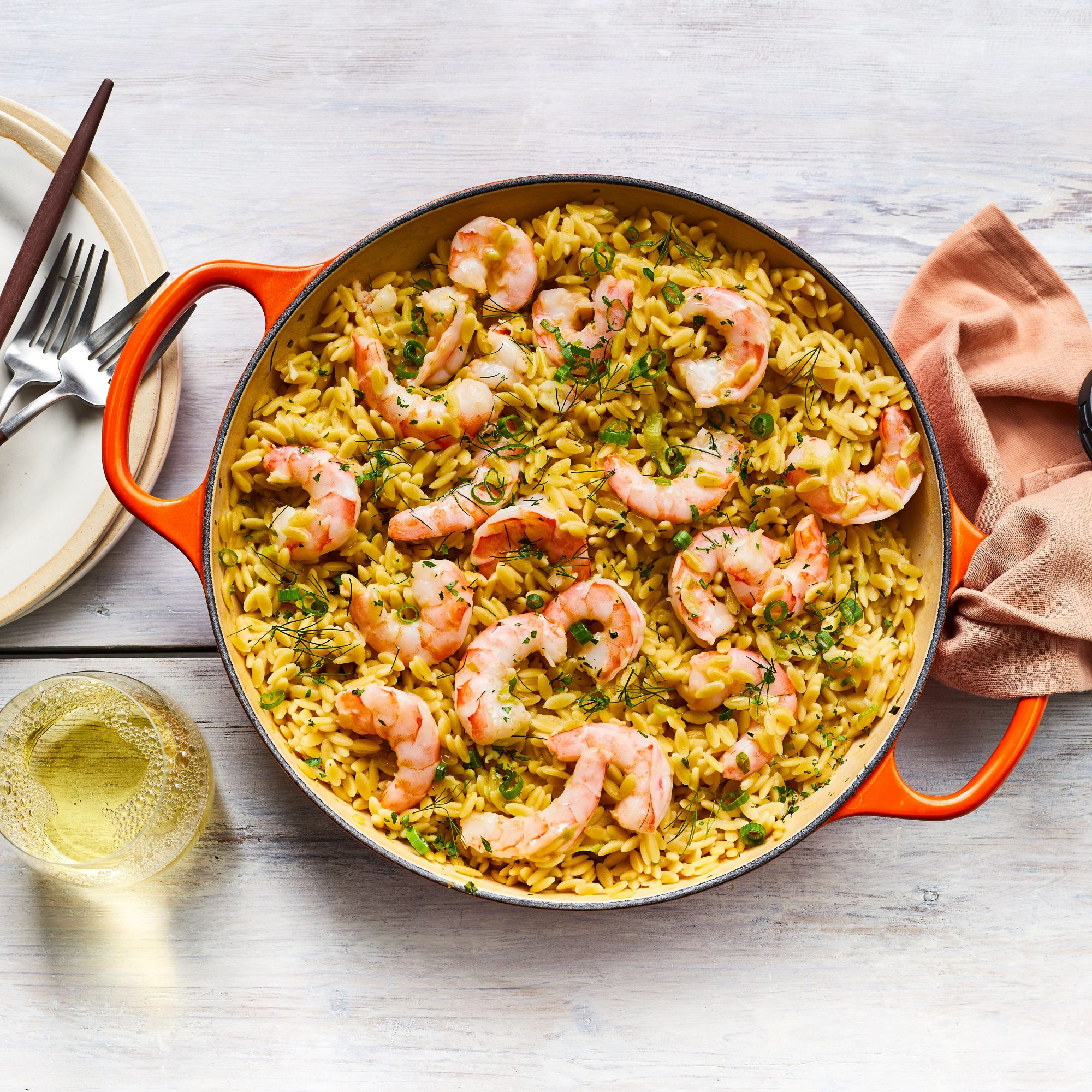 Skillet Shrimp Destin with Orzo
