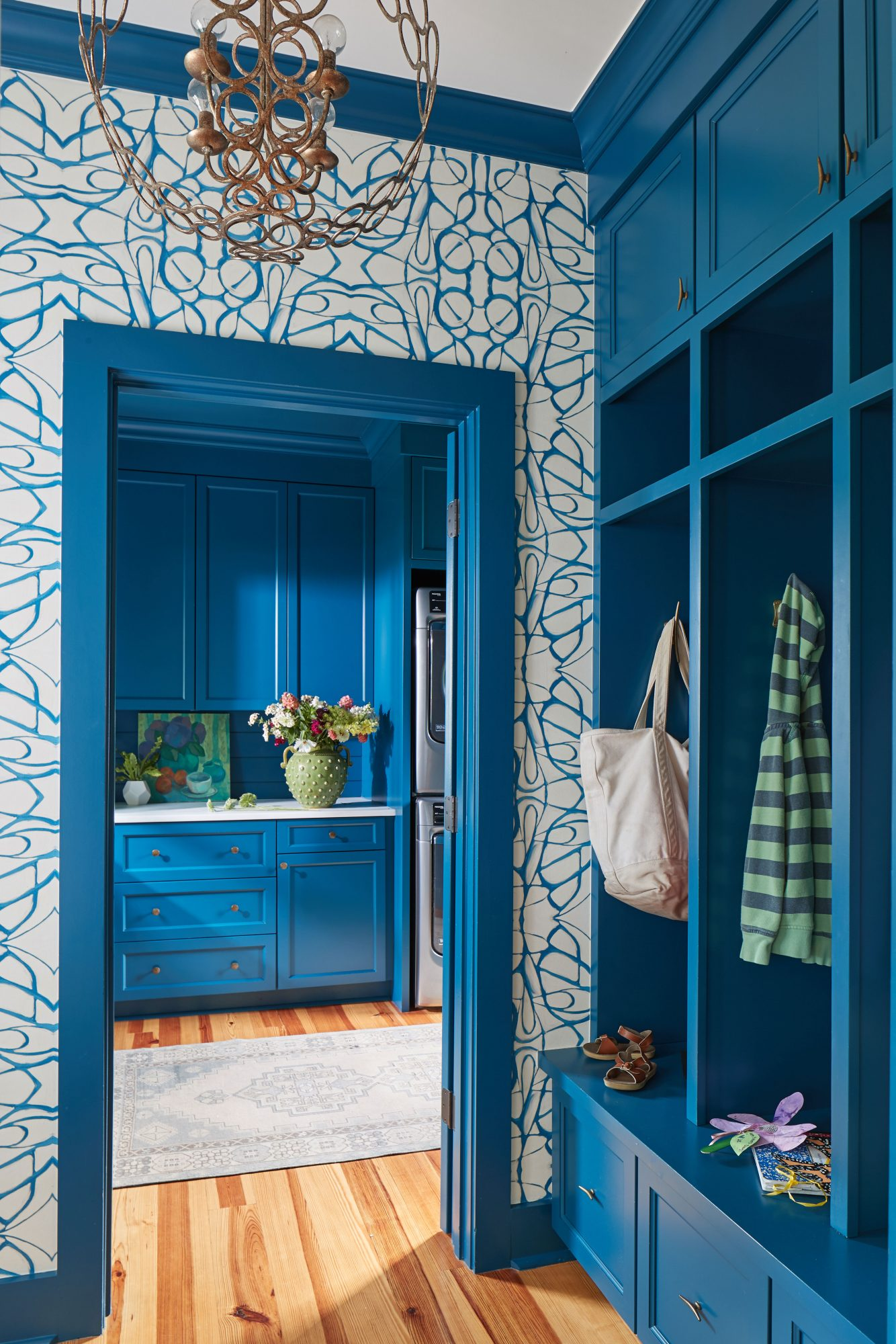 Blue Wallpaper and Paint Mudroom