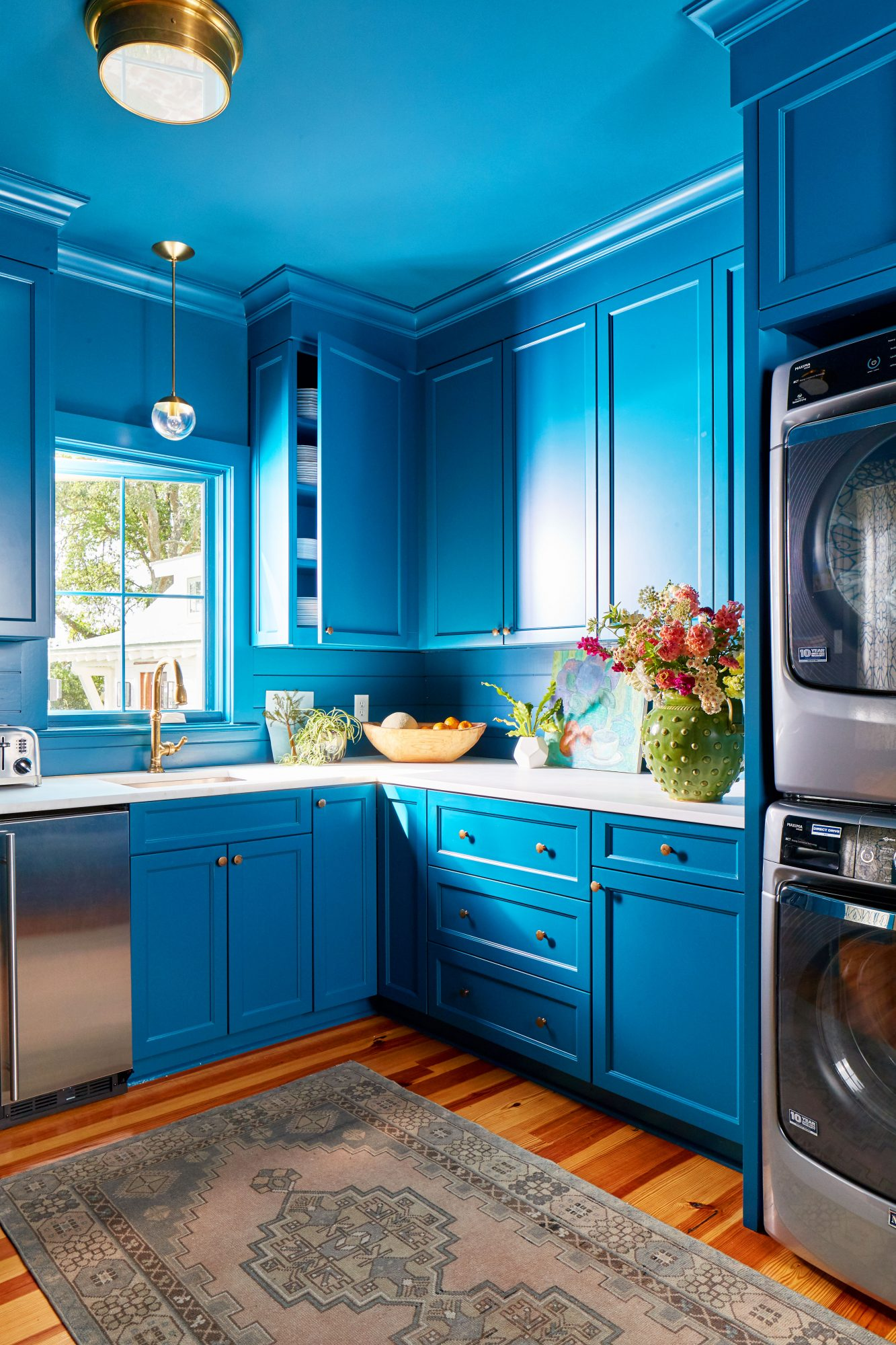 Bold blue laundry room