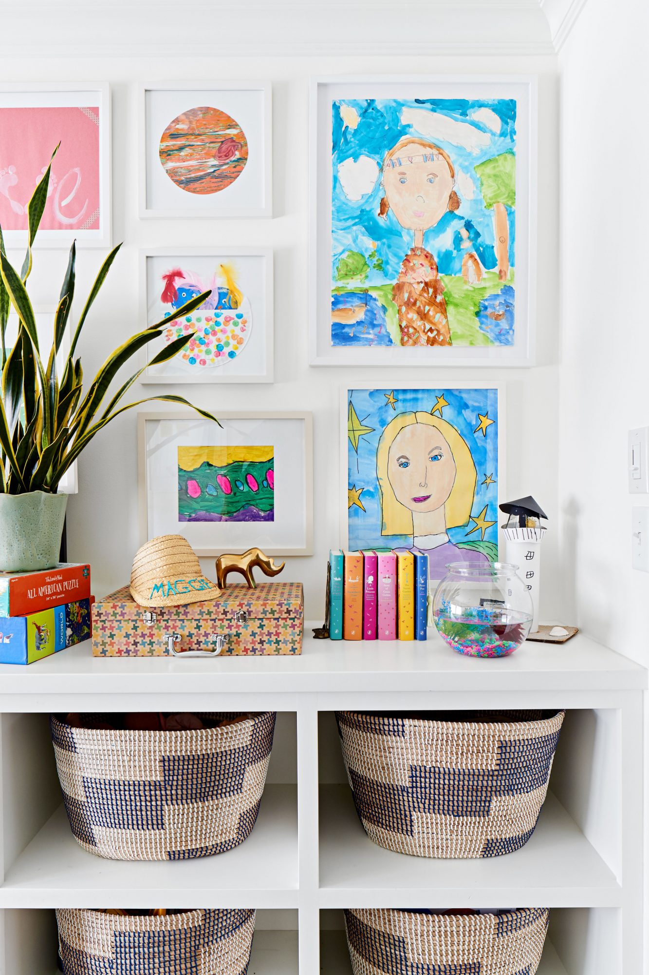 Playroom Storage and Kids Art