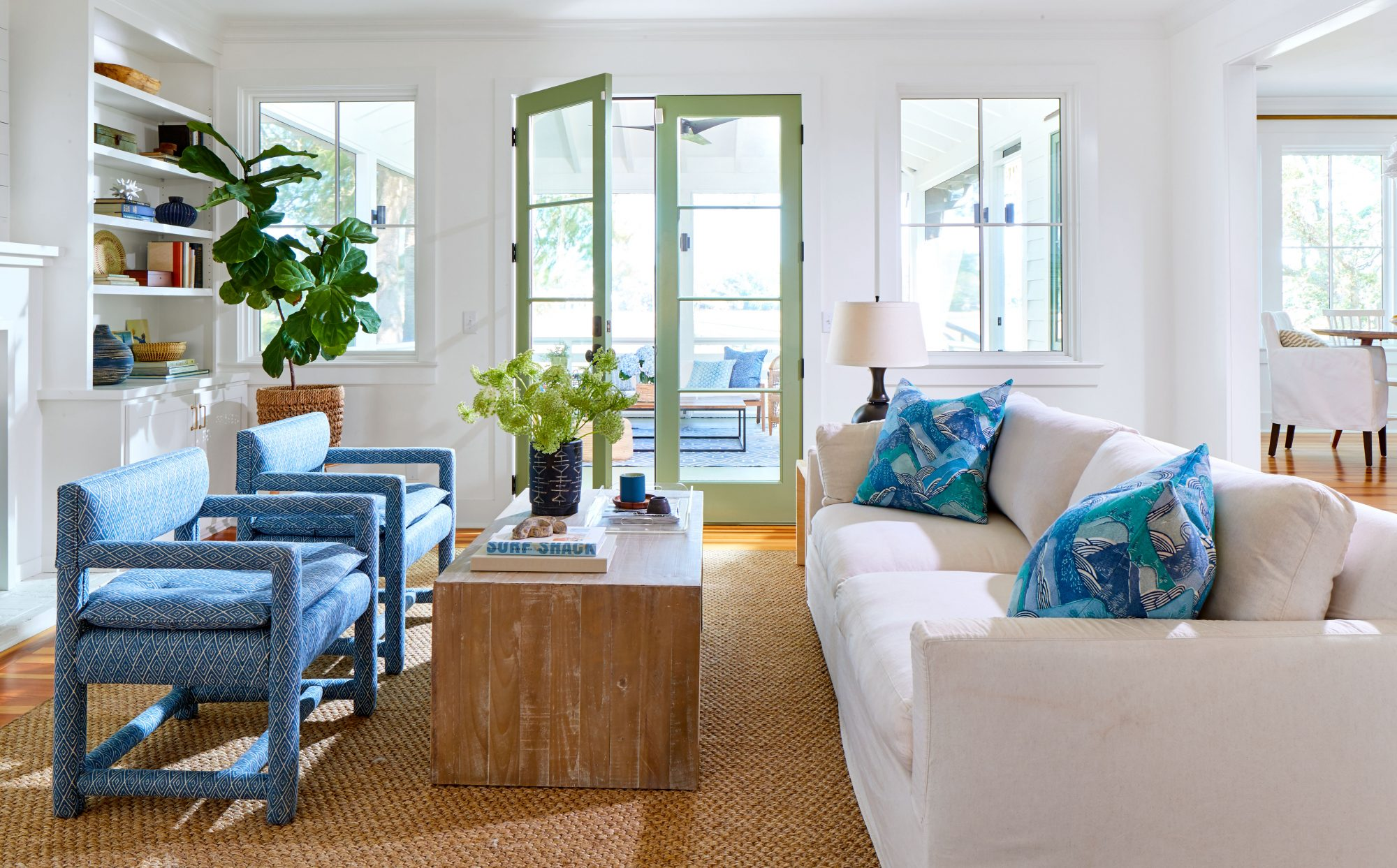 White and Blue Living Room with Natural Accents