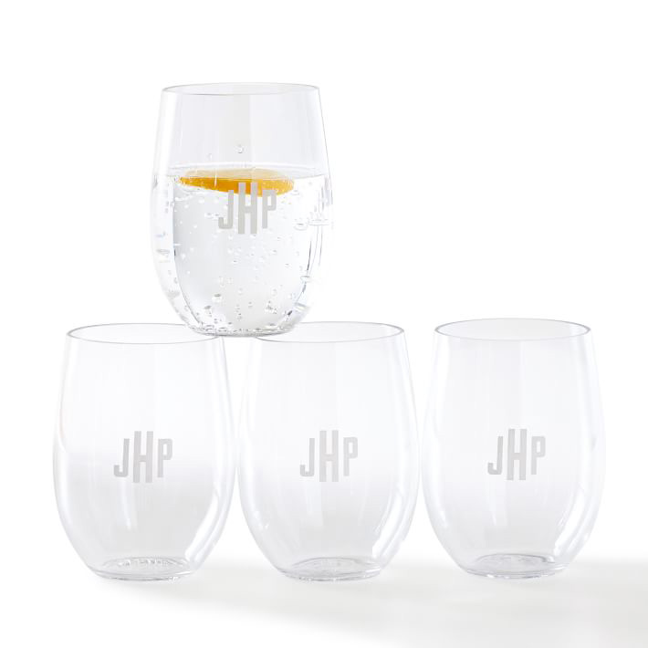Acrylic Monogrammed Wine Glasses