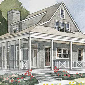 Inspired by small summer cottages built along the East Coast, this plan is adaptable in a variety of climates and locations. Cedar shakes on the exterior and the Nantucket star design on the porch add to the authentic look and feel.                             Starting at $1,100; SL-224