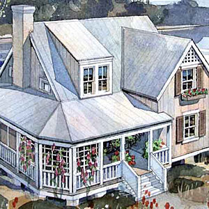 A screened-in porch and second-floor master suite give this traditional farmhouse a modern sensibility.                             Starting at $845; SL-360